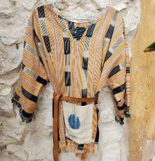 MOROCCAN MULTICOLOR PONCHO WITH BELT