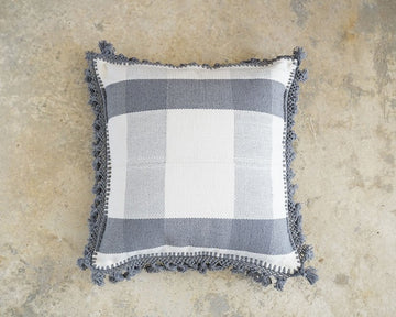 SQUARES WITH POMPONS CUSHION (50X50)-JALIEZA