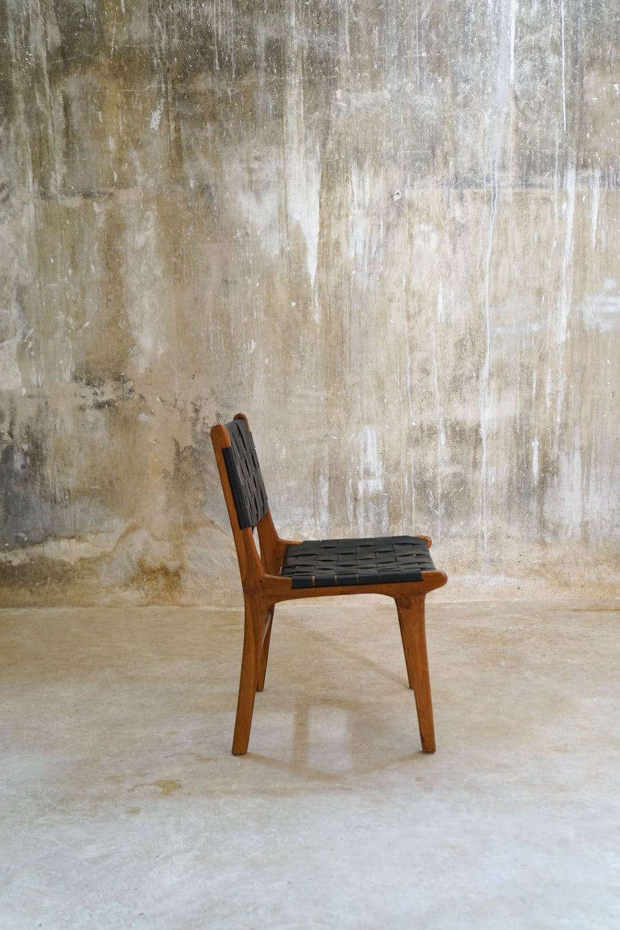 TECA WOOD AND LEATHER CHAIR