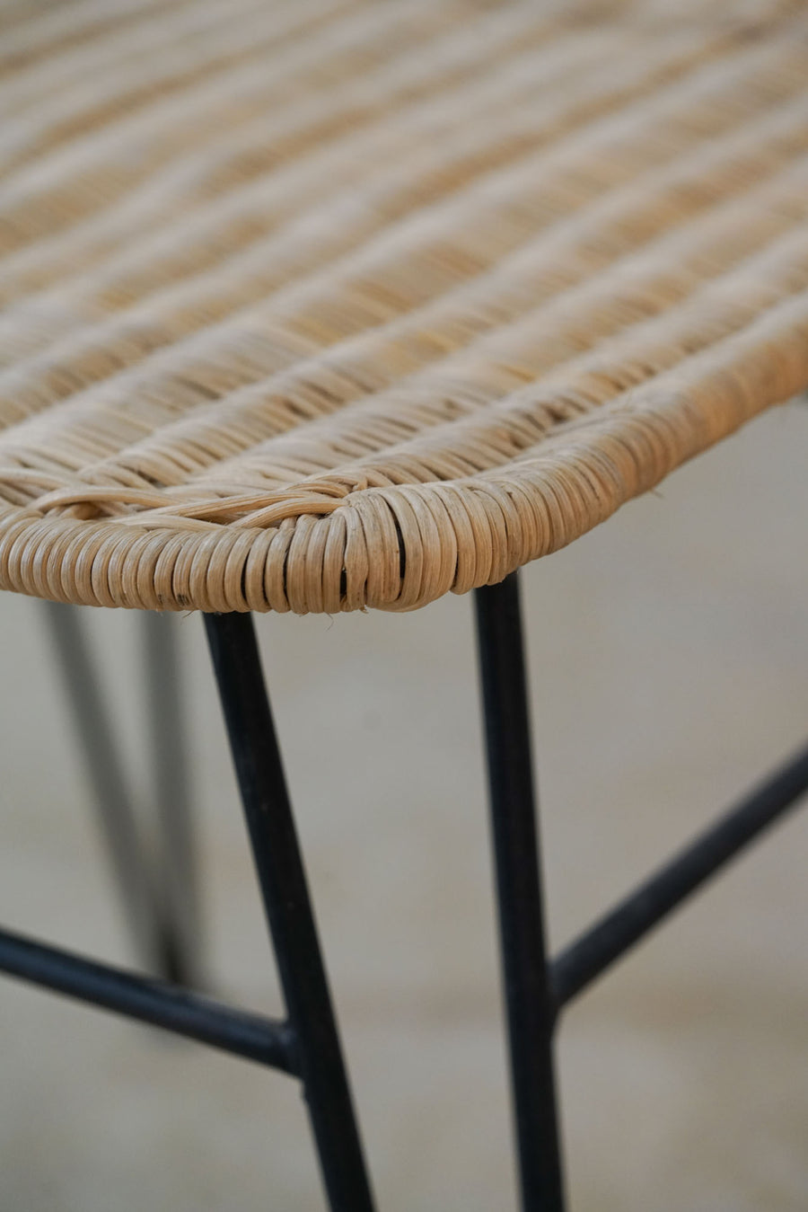 WICKER AND IRON CHAIR