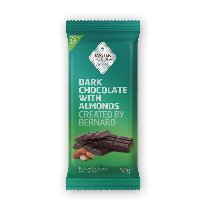 Dark 75% Chocolate Bar with Almonds