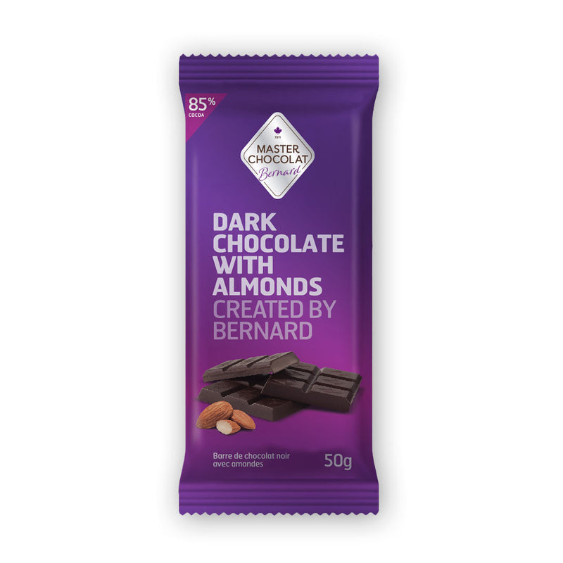 Dark 85% Chocolate Bar with Almonds