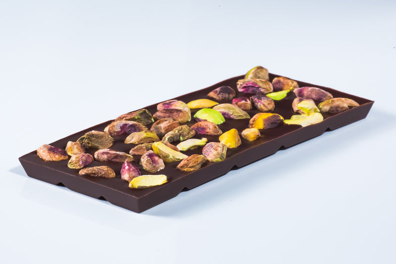 Dark 75% Chocolate Bar with Pistachios