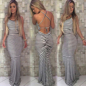 Vintage Boho Striped Long Maxi