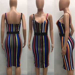 Striped Colorful Bandage Dress