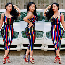 Load image into Gallery viewer, Striped Colorful Bandage Dress