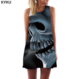 Skull Black Short Dress