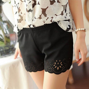 High Waist Hollow Floral Casual Shorts