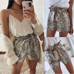 High Waist Tie Belt Dungaree Shorts