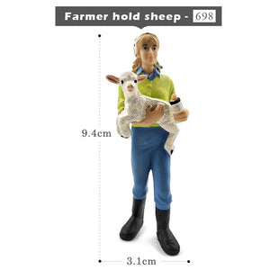 Simulation Farm hold dog sheep Cow pig Farmer people Model figurine miniature fairy garden home decor decoration accessories toy