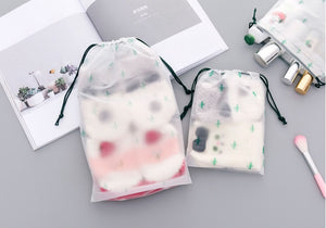 Transparent Drawstring Cactus Cosmetic Bag