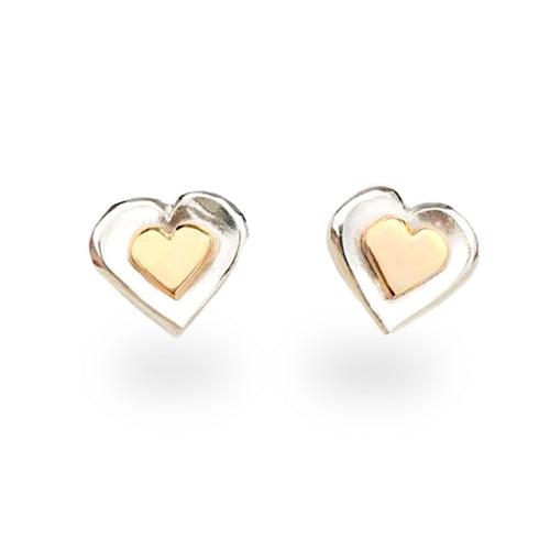 Silver and gold heart earrings.