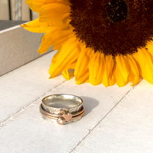 Load image into Gallery viewer, 'Eternal love'. Solid silver ring set with gold heart and diamond.