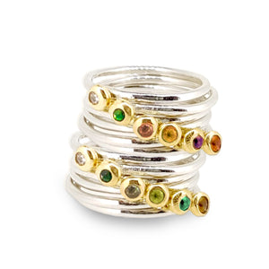 Birthstone ring - silver band with gemstone set in solid gold nugget