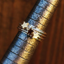 Load image into Gallery viewer, 'It's in the stars' - spinning ring with diamonds set in three gold stars