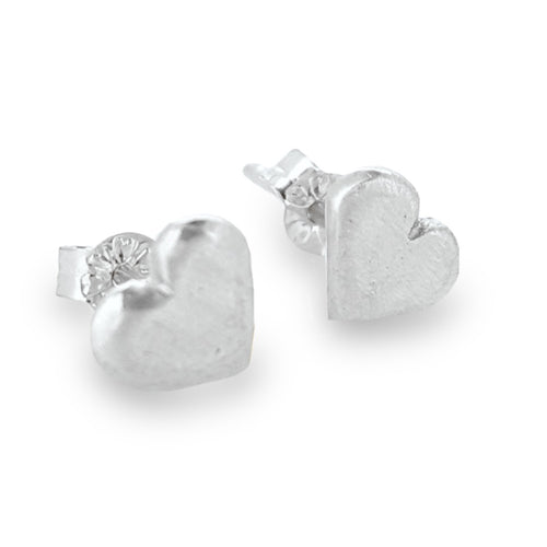 Cute heart stud earrings, handmade from solid silver or gold