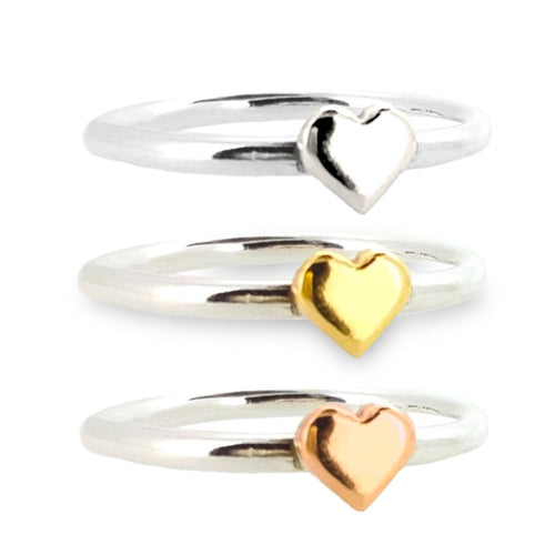 Dainty silver sweetheart stacking rings with gold hearts - set of 3