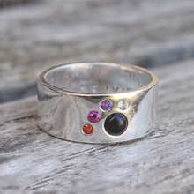 Load image into Gallery viewer, Sterling silver cats paw ring with gemstones