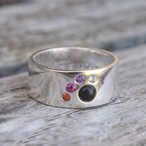 Sterling silver cats paw ring with gemstones