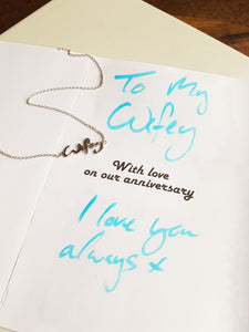 Solid silver or gold handwriting necklace
