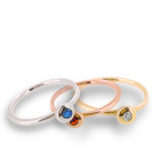 Load image into Gallery viewer, Birthstone ring - solid gold band with gemstone set in solid gold nugget