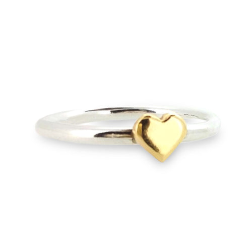 Dainty silver sweetheart ring with solid gold heart