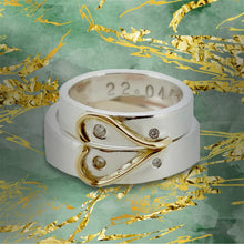 Load image into Gallery viewer, 'Together We Are One' Wedding Set. Unique half-heart wedding rings.