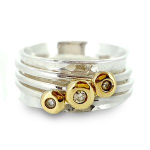 'Cariad' spinning ring handmade with solid gold, silver and diamonds