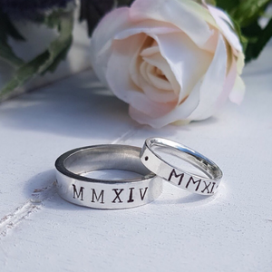 Personalised Roman numerals wedding rings. 9ct solid gold