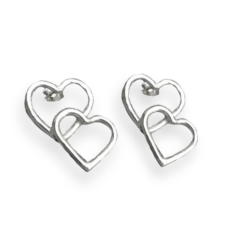 Solid silver double heart stud earrings.