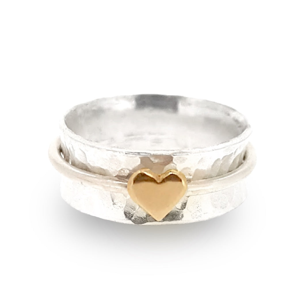 'One Love'. Sterling silver spinning ring with solid gold heart.
