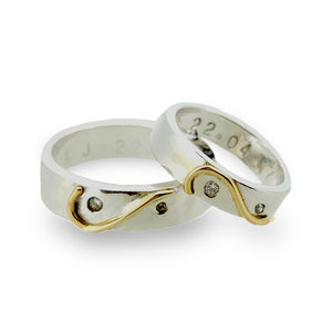 'Together We Are One' Wedding Set. Unique half-heart wedding rings.