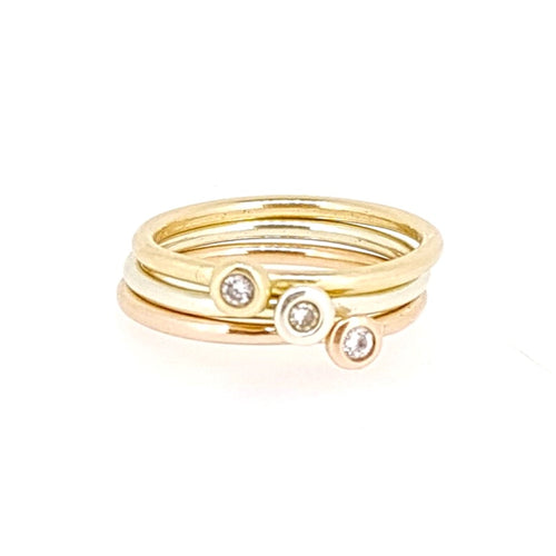 Gold stacking ring set with a diamond. Solid 9ct rose gold, white gold and yellow gold