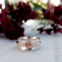 Load image into Gallery viewer, 'One Love'. Sterling silver ring with solid gold heart and spinning ring.