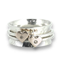 Load image into Gallery viewer, 'Eternally Yours' spinning ring - Silver, gold and sparkling diamonds