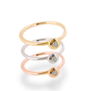 Diamond set ring in solid white gold, rose gold or yellow gold.