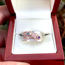 Load image into Gallery viewer, Always In My heart - Solid silver ring set with gold heart and birthstones