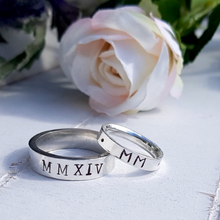 Load image into Gallery viewer, Personalised man's ring with Roman numerals. Sterling silver