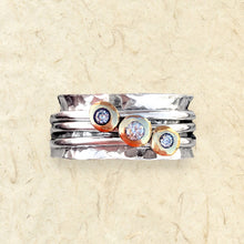 Load image into Gallery viewer, 'Cariad' spinning ring handmade with solid gold, silver and diamonds