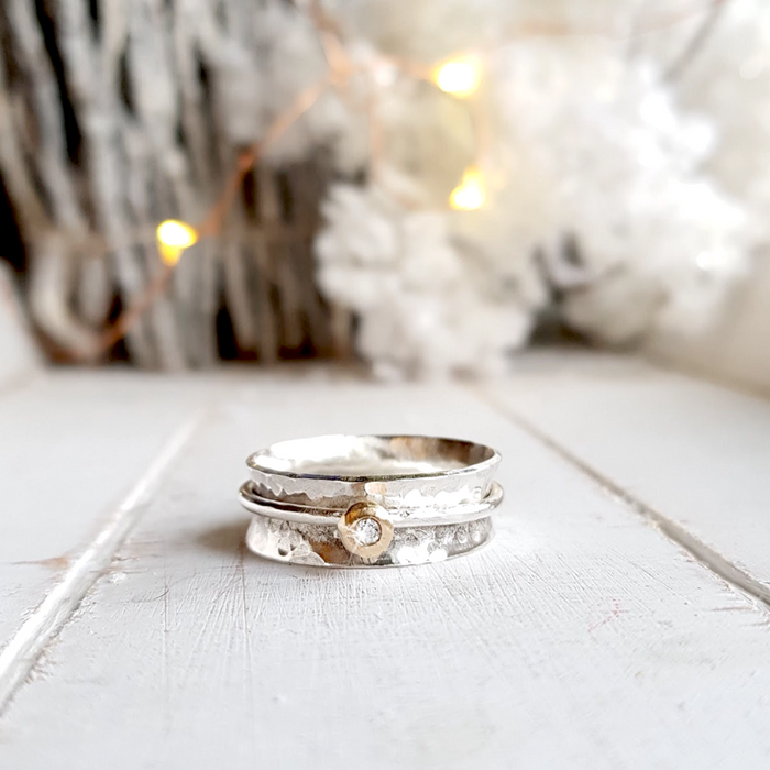 'Always' - Silver spinning ring with gold and diamond.