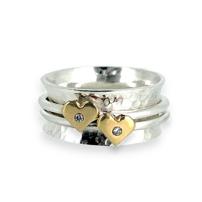 'Eternally Yours' spinning ring - Silver, gold and sparkling diamonds