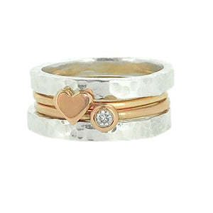 'Eternal Love' stacking set. Gold, silver and diamond rings