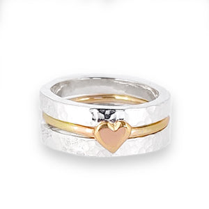 'One love' stacking set with silver rings and dainty solid gold heart