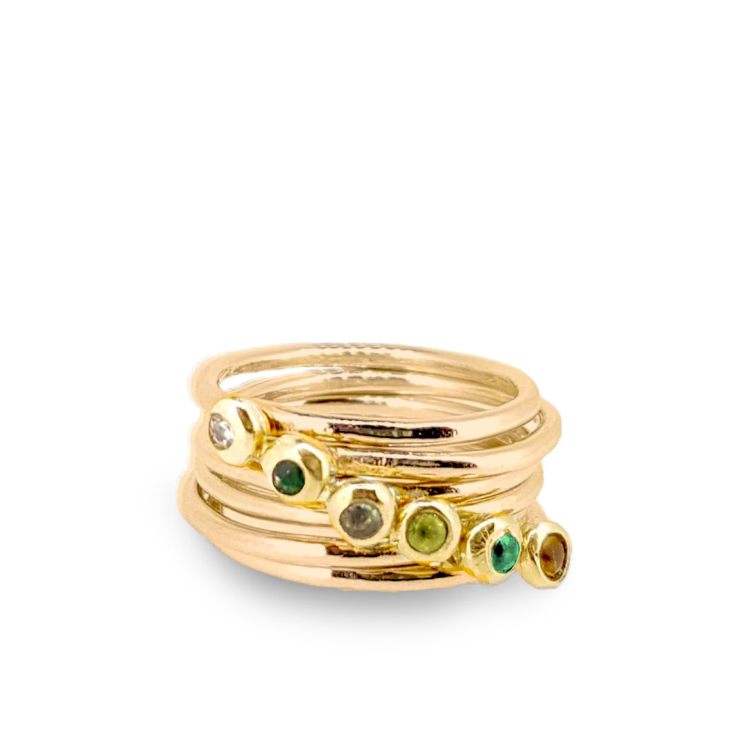 Birthstone ring - solid gold band with gemstone set in solid gold nugget