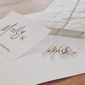Solid silver handwriting necklace