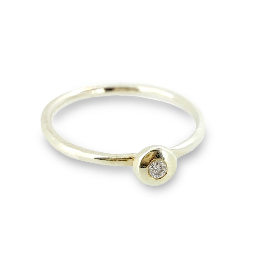 27c5f61da8999 Gold stacking ring set with a diamond. Solid 9ct rose gold, white gold and  yellow gold