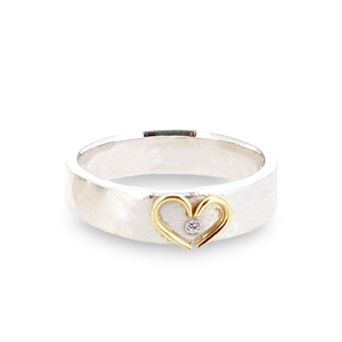 Silver band with 18ct gold open heart. Add a diamond for extra sparkle.