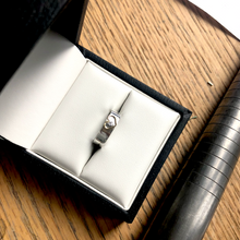 Load image into Gallery viewer, Silver band with 18ct gold open heart. Add a diamond for extra sparkle.