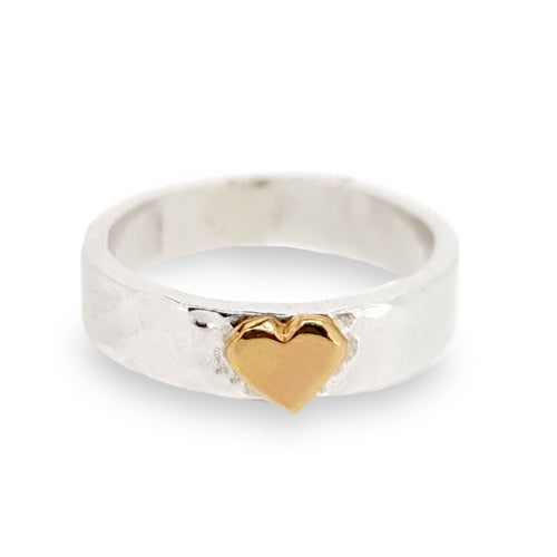 'Be Mine'. Charming hand hammered sterling silver ring set with solid gold heart.