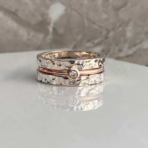 'Eternal' stacking set. Gold, silver and diamond rings